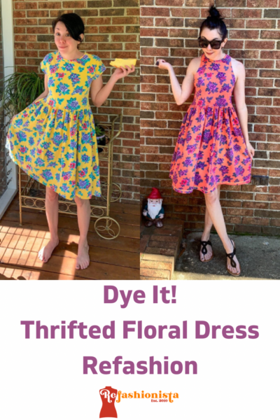 Overdyed Floral Dress Refashion pin 1