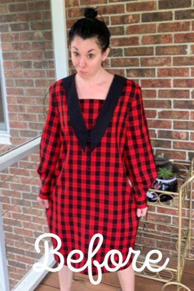 Plaid Thrift Store Dress Refashion Pin 2