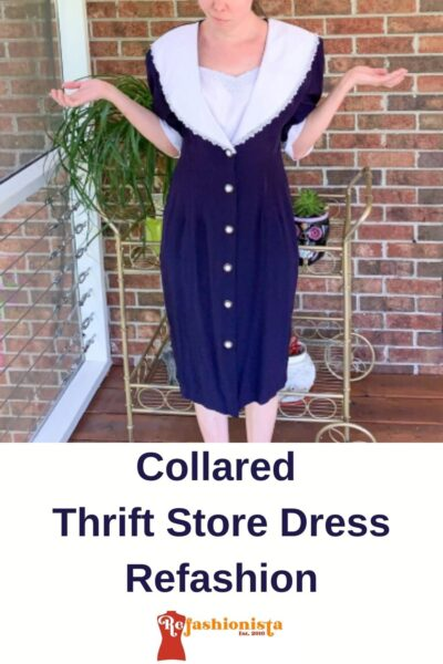 Refashioning a Collared Thrift Store Dress Pin 1