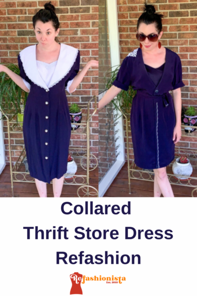 Refashioning a Collared Thrift Store Dress Pin 2