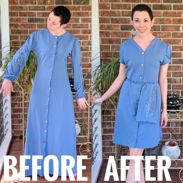 refashionista '40s-ish(?) Dress Refashion with Repurposed Sleeve Sash before and after