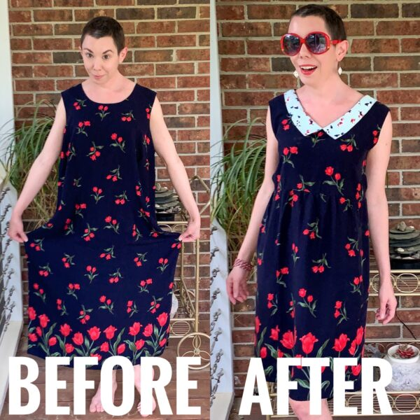 refashionista 90s Babydoll Dress Refashion with Repurposed Face Mask Collar