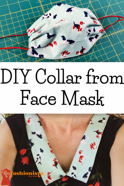 Refashionista 90s Babydoll Dress Refashion with Repurposed Face Mask Collar Pin 1