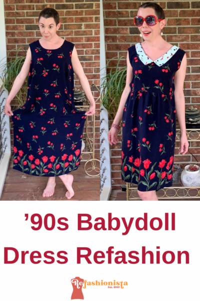 Refashionista 90s Babydoll Dress Refashion with Repurposed Face Mask Collar Pin 5