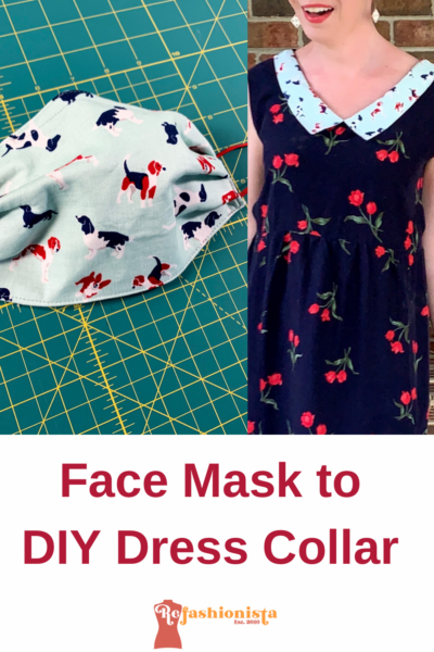 Refashionista 90s Babydoll Dress Refashion with Repurposed Face Mask Collar Pin 6