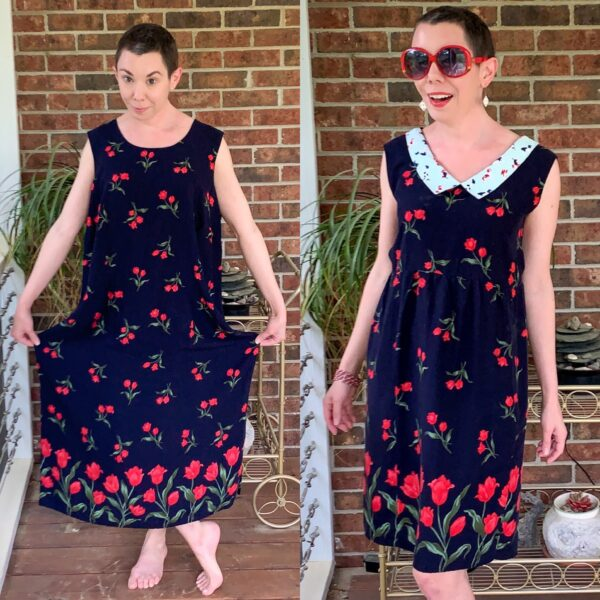 Refashionista 90s Babydoll Dress Refashion with Repurposed Face Mask Collar Pin 8