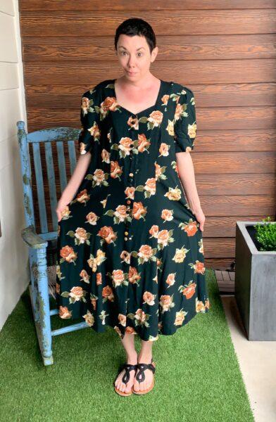 Refashionista Back in Austin: Brown Spring Floral Dress Refashion before