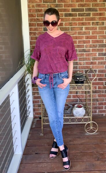 refashionista DIY Drawstring T-shirt from Nightgown after