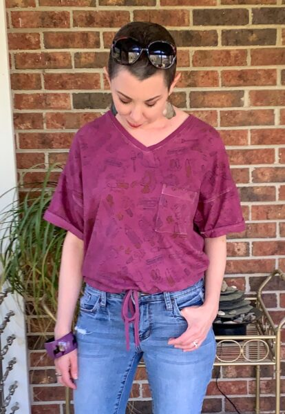 refashionista DIY Drawstring T-shirt from Nightgown after cropped view looking down