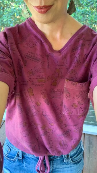 refashionista DIY Drawstring T-shirt from Nightgown after selfie
