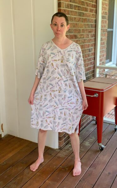 Refashionista DIY Drawstring T-shirt from Nightgown Before