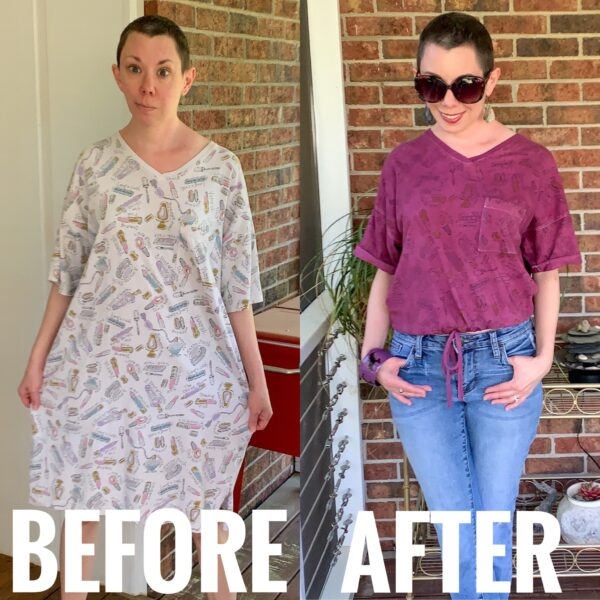refashionista DIY Drawstring T-shirt from Nightgown before and after