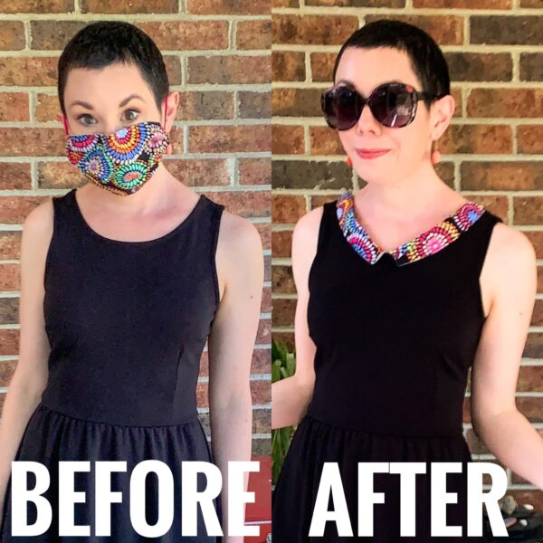 refashionista Repurposed Cloth Face Mask Dress Collar before and after