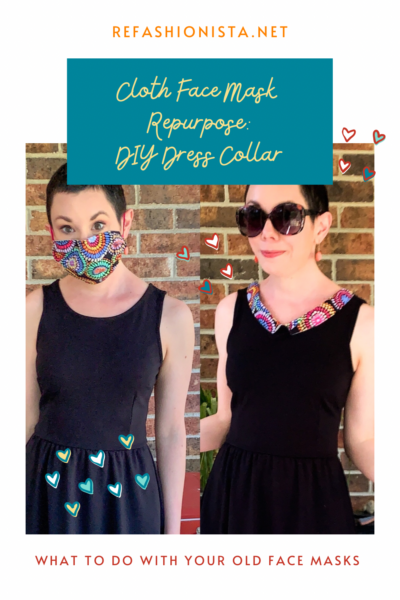 Refashionista Repurposed Cloth Face Mask Dress Collar Pin 1