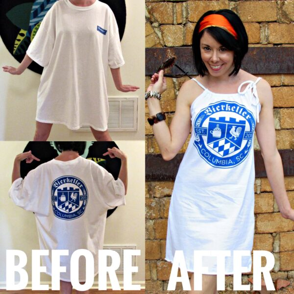 Refashionista T-shirt to Drawstring Halter Dress Refashion Before and After