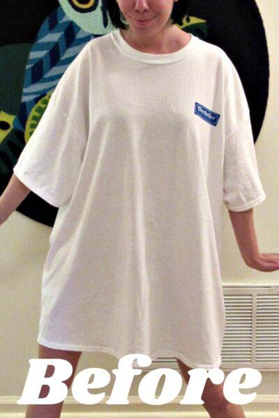 Refashionista T-shirt to Drawstring Halter Dress Refashion Pin 1