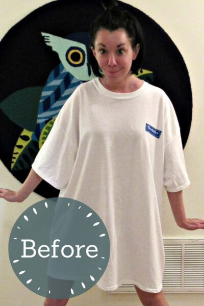 Refashionista T-shirt to Drawstring Halter Dress Refashion Pin 2