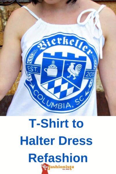 Refashionista T-shirt to Drawstring Halter Dress Refashion Pin 3
