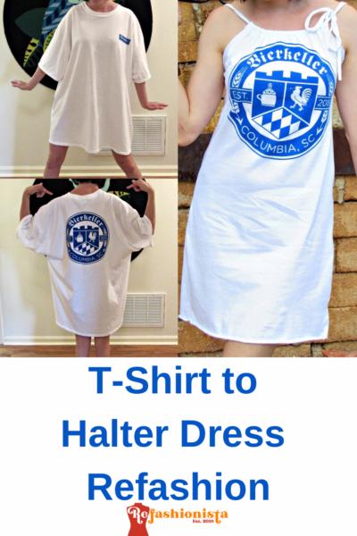 Refashionista T-shirt to Drawstring Halter Dress Refashion Pin 4