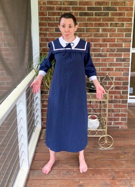 Sailor Collar Maternity Dress Refashion Pin 1