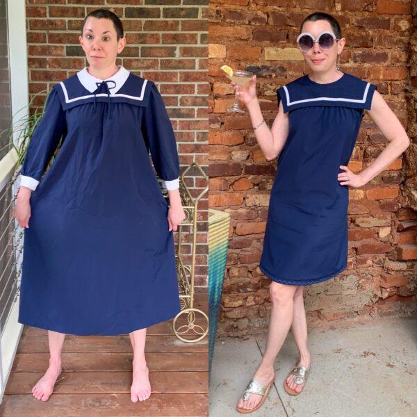 Sailor Collar Maternity Dress Refashion Pin 10