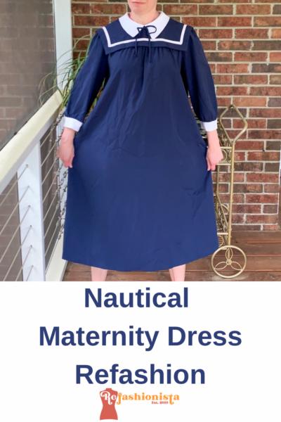 Sailor Collar Maternity Dress Refashion Pin 2