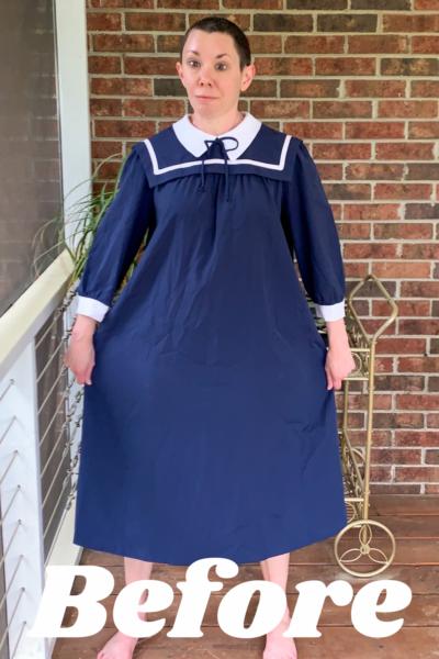 Sailor Collar Maternity Dress Refashion Pin 3
