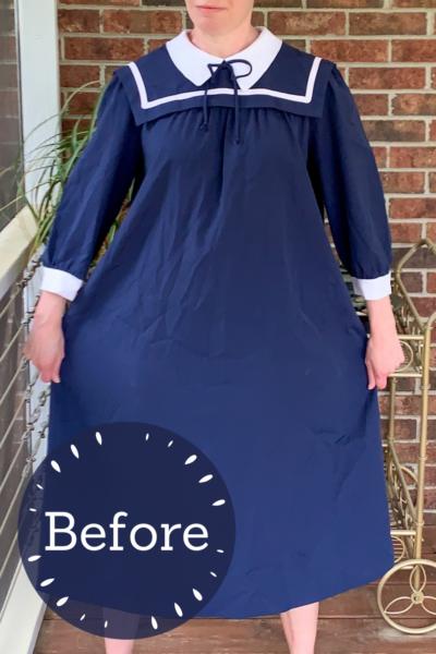 Sailor Collar Maternity Dress Refashion Pin 4