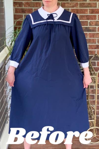 Sailor Collar Maternity Dress Refashion Pin 5