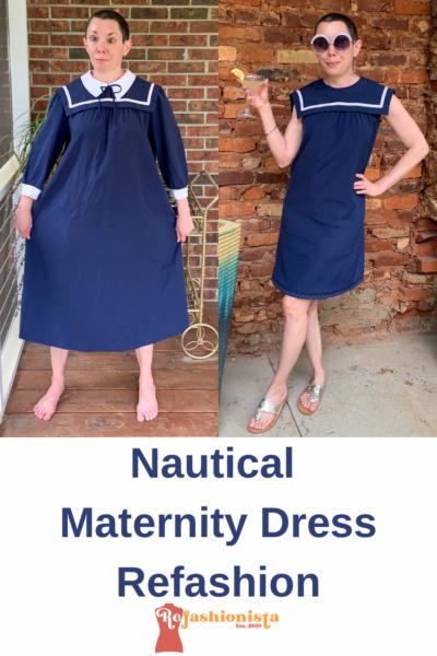 Sailor Collar Maternity Dress Refashion Pin 7