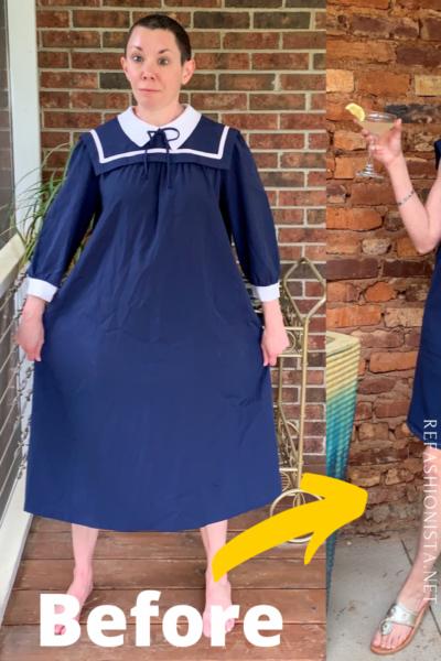 Sailor Collar Maternity Dress Refashion Pin 8