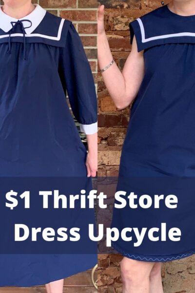 Sailor Collar Maternity Dress Refashion Pin 9