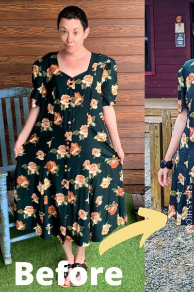 Refashionista Back in Austin: Brown Spring Floral Dress Refashion Pin 3