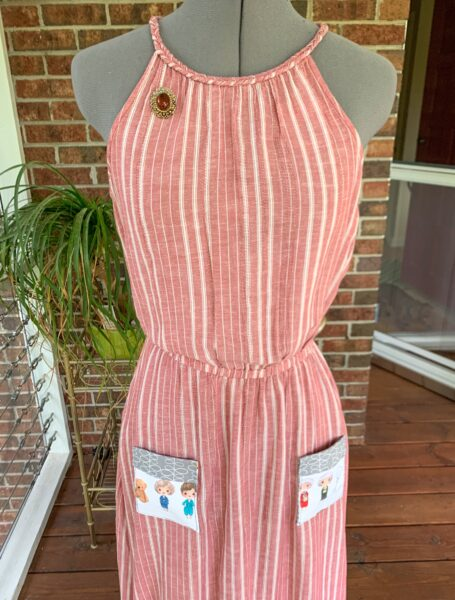 refashionista Repurposing Idea for Face Masks: Patch Pockets after on dress form