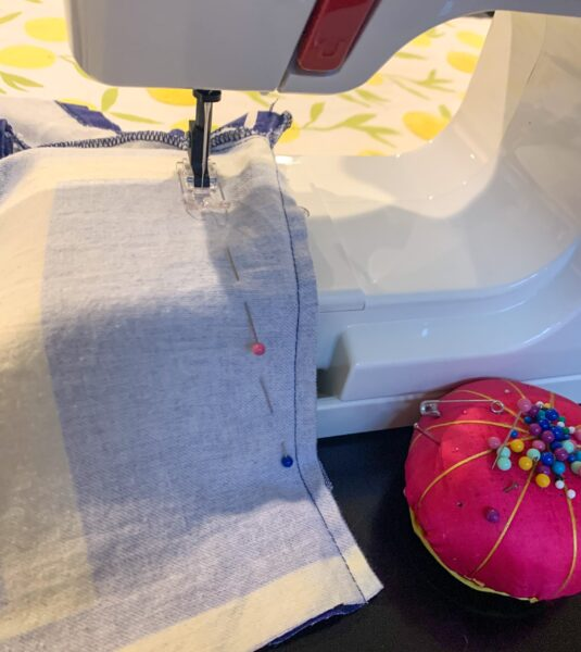 sewing side of top