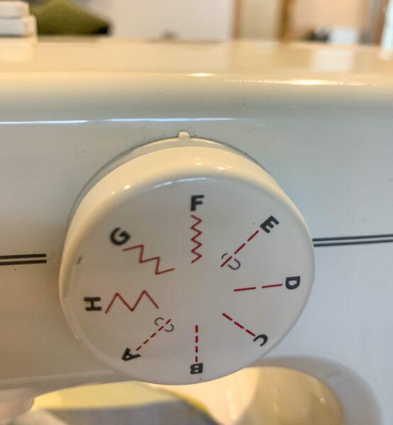 zigzag stitch selected on machine