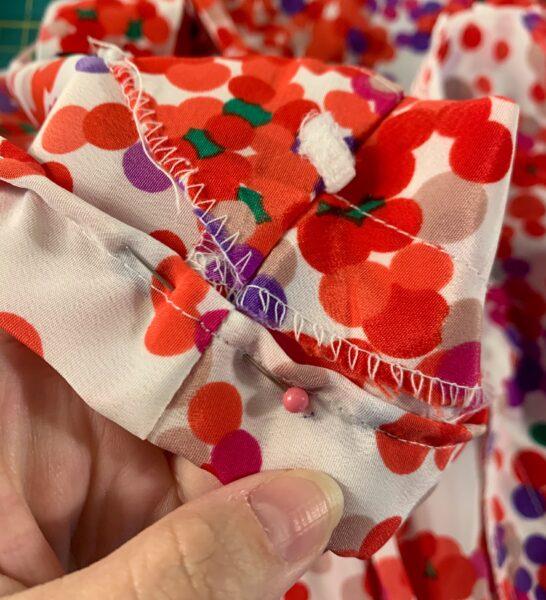 folded shoulder of dress