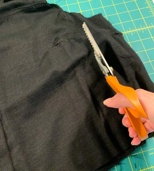 cutting off side fabric
