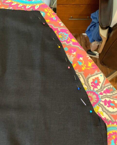 pinned side skirt of dress
