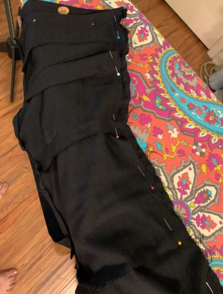 pinning skirt and top together