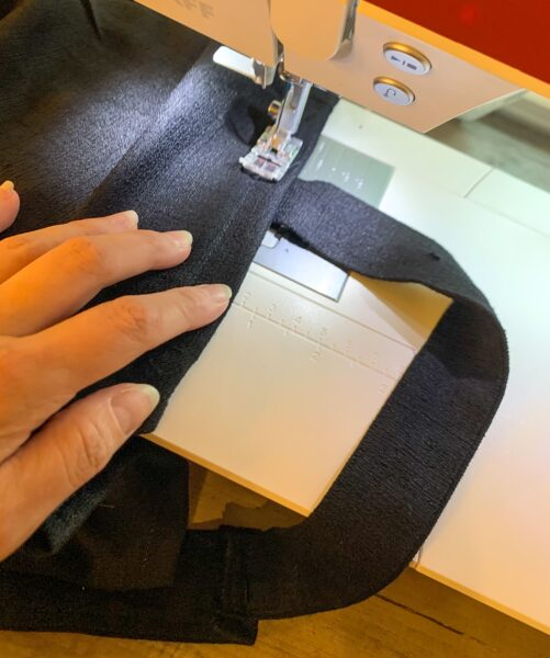 sewing back strap down