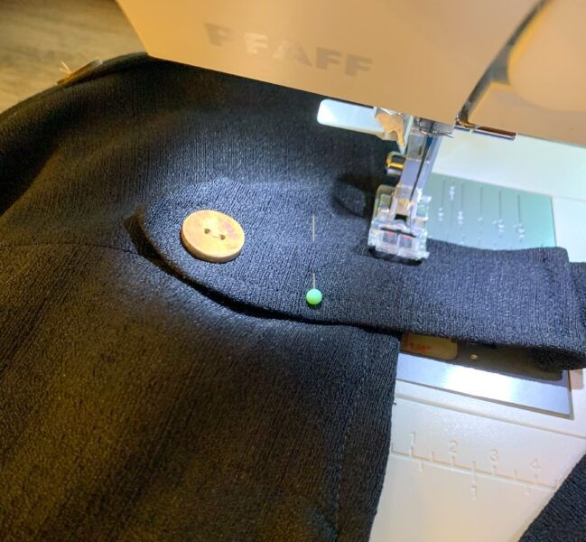 sewing front strap onto dress