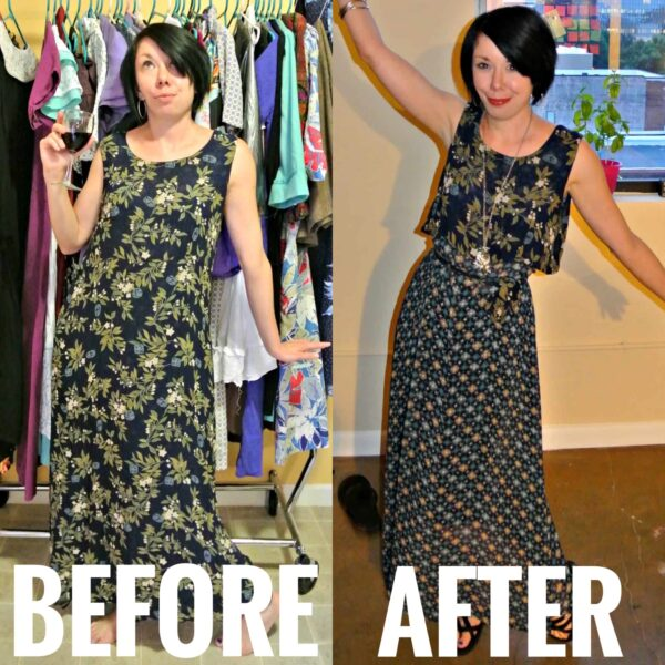 refashionista A Most Secretive Maxi Dress Refashion before and after