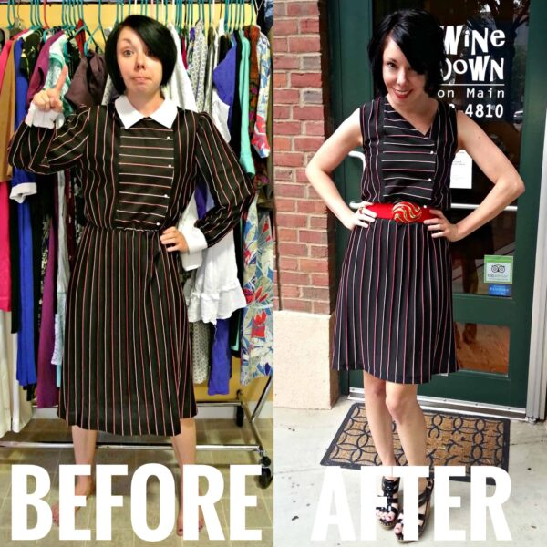 refashionista asymmetrical v-neck refashion before and after