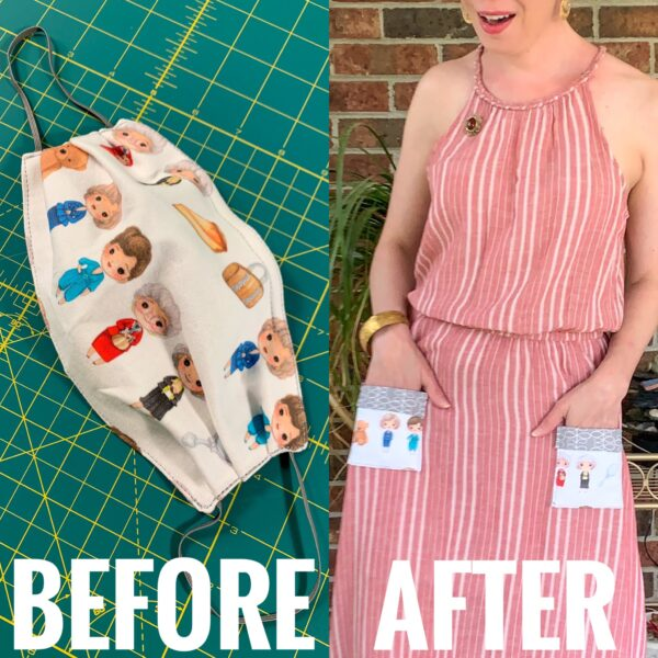 refashionista refashionista Repurposing Idea for Face Masks: Patch Pockets before and after