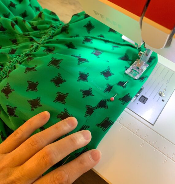 sewing casing on top of dress