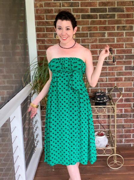 refashionista Easy Strapless Summer Dress Refashion after 1