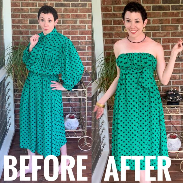 refashionista Easy Strapless Summer Dress Refashion before and after