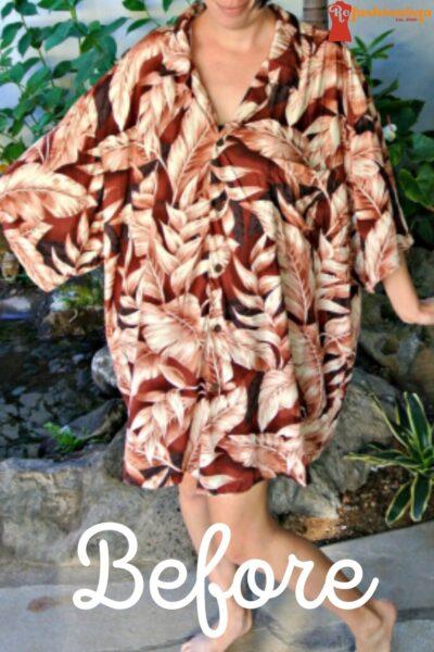 No Sew Mens Hawaiian Shirt to Dress Refashion Pin 3