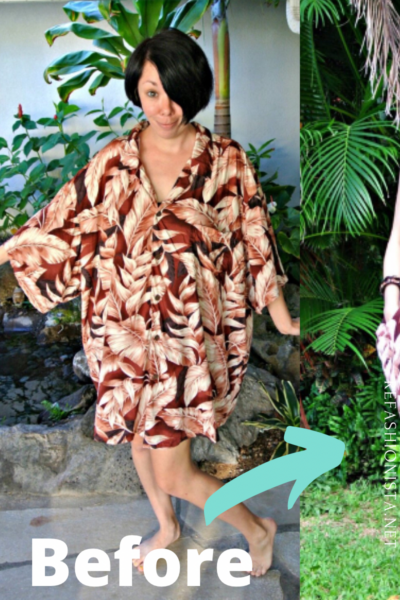 No Sew Mens Hawaiian Shirt to Dress Refashion Pin 4